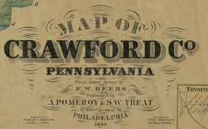Publisher's mark on 1865 map of Crawford County, Pennsylvania