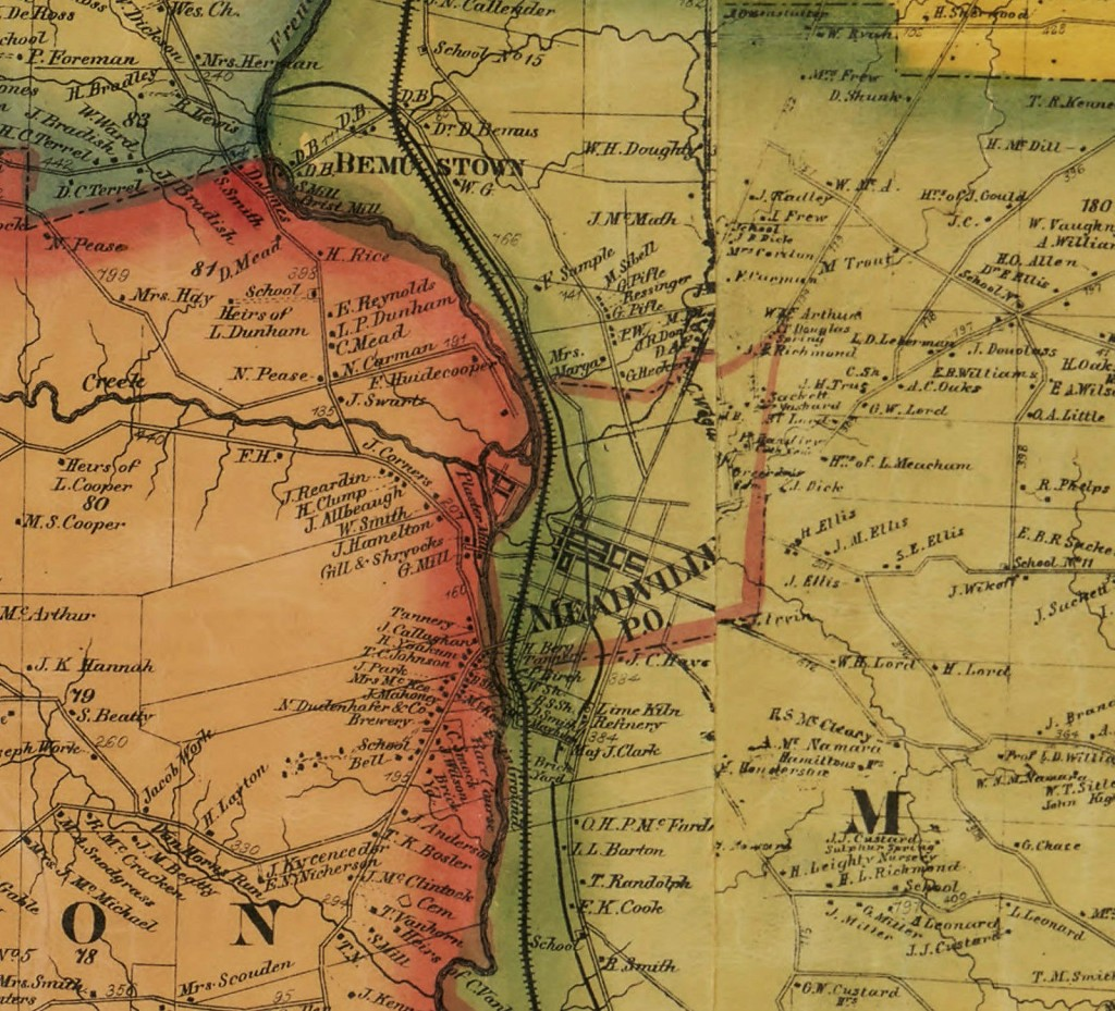 Meadville and surrounding area - 1865 map