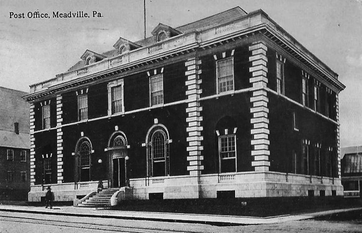 The Chestnut Street Location of the Meadville Post Office from 1907